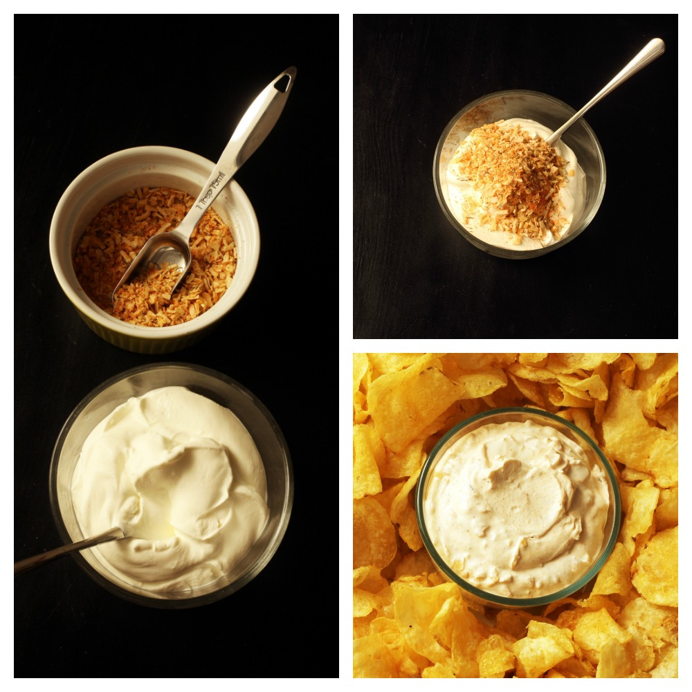 step by step photos of making onion dip
