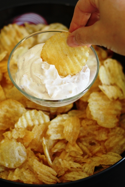 chips and onion dip made with onion soup mix