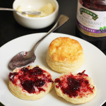 plate of Flaky Buttermilk Biscuits with jam
