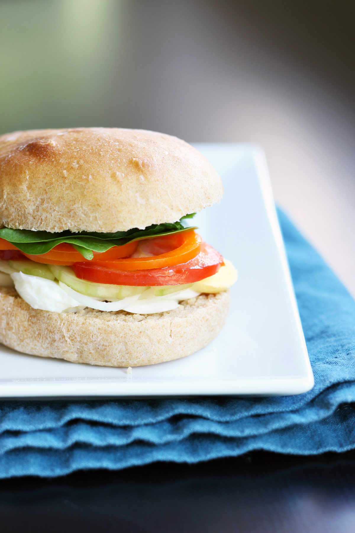 egg and vegetable sandwich on plate
