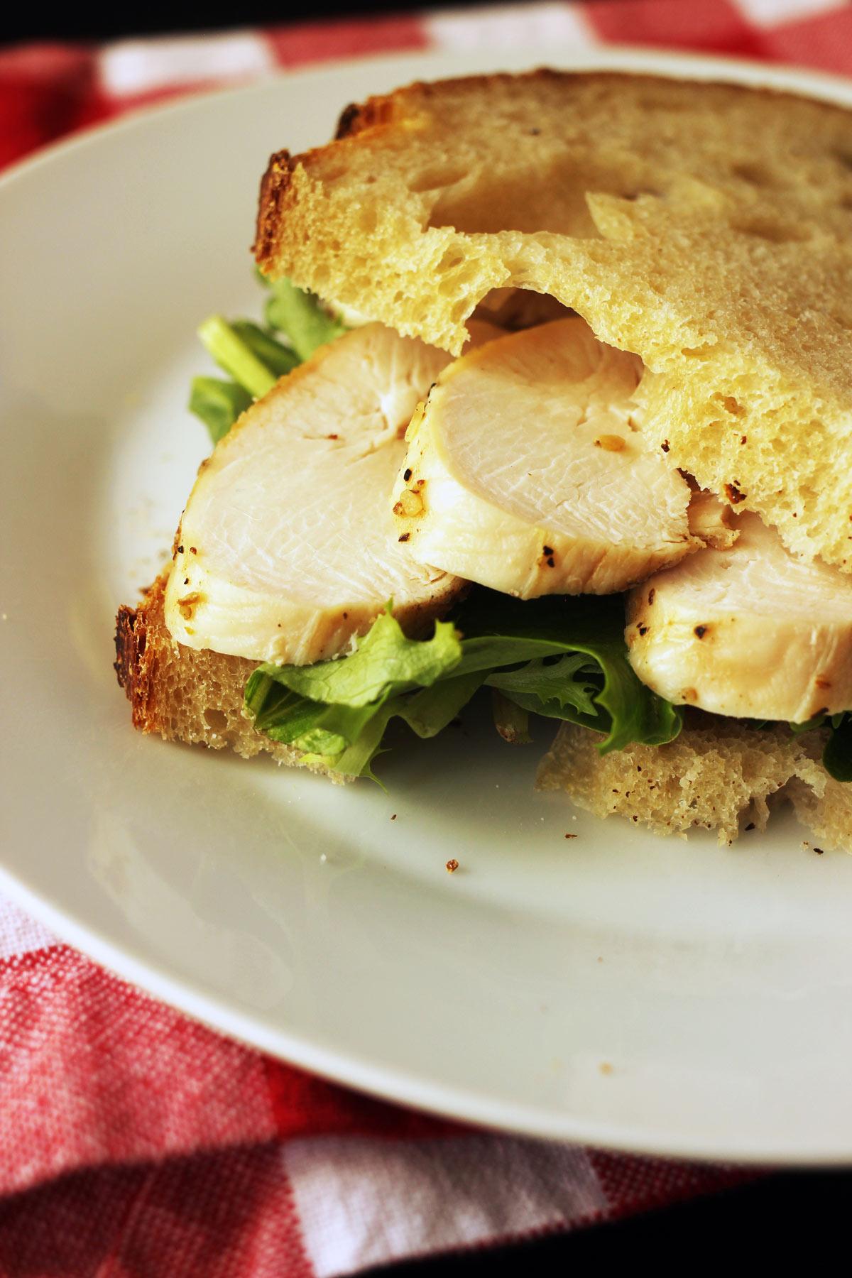 chicken strips layered in sandwich