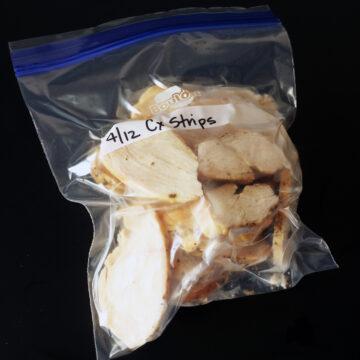 frozen strips in freezer bag