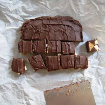 Fudge on parchment cut into squares