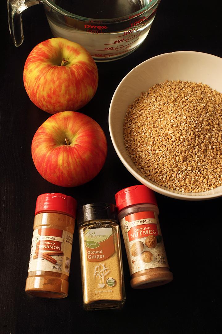 ingredients for Cinnamon Apple Oatmeal