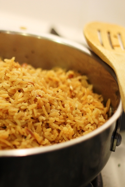 seasoned rice pilaf in the pan