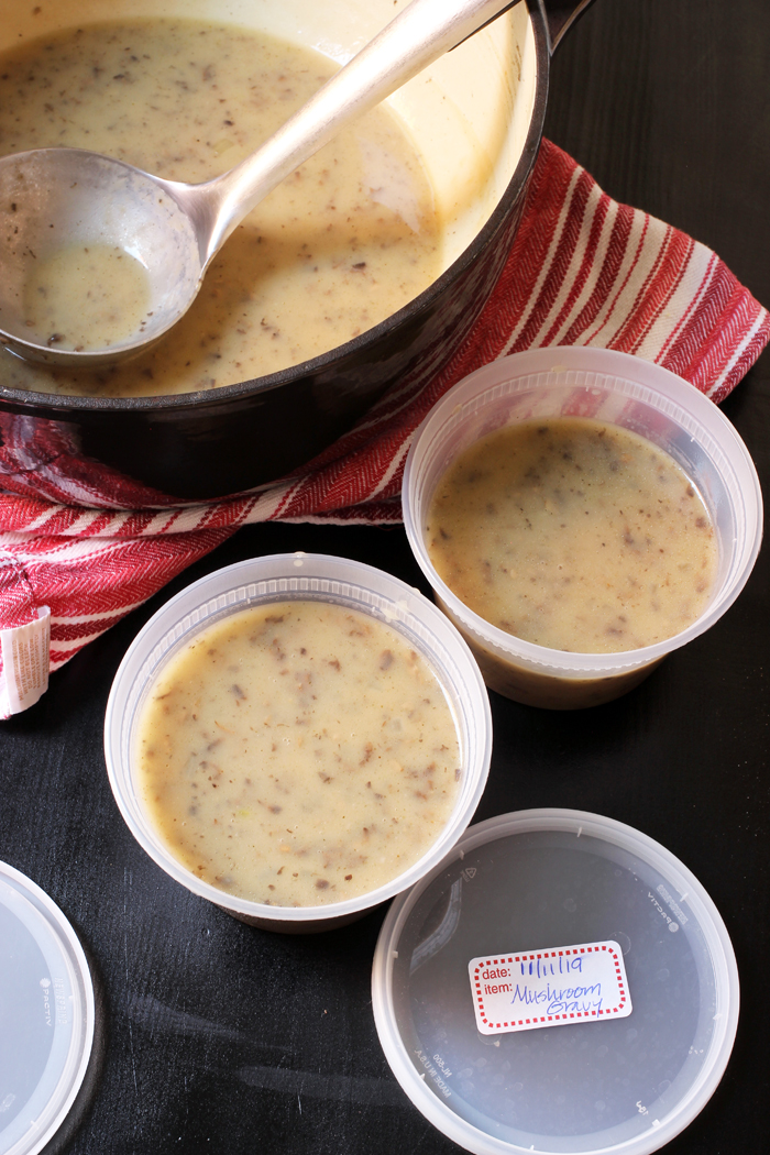 mushroom onion gravy in freezer containers
