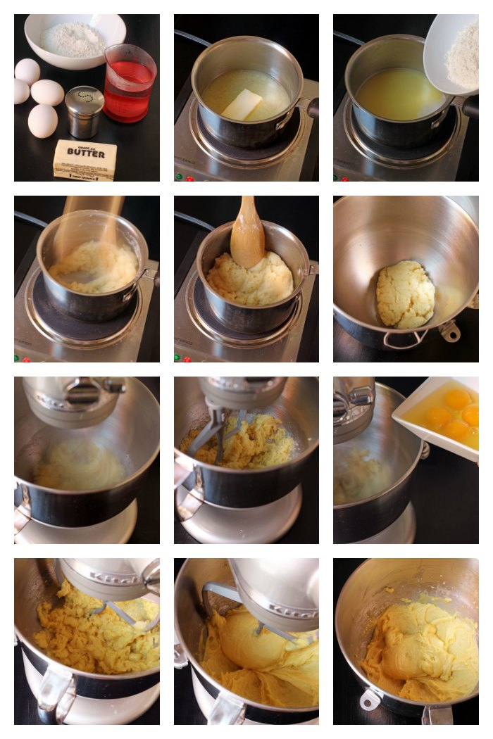 step by step photos of making choux pastry