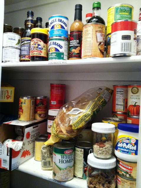 pantry shelves filled with food