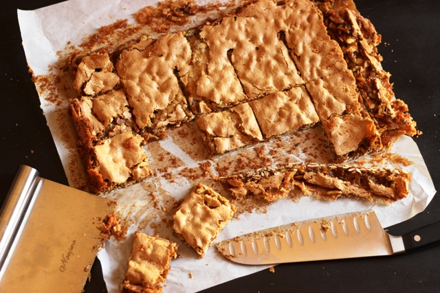 Pepita Cookie Bars - Pepitas, also known as pumpkin seeds can be used as a nut substitute in a number of recipes, including these delicious, caramel-scented cookie bars. Bake some today!