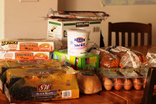 Costco haul on grocery table