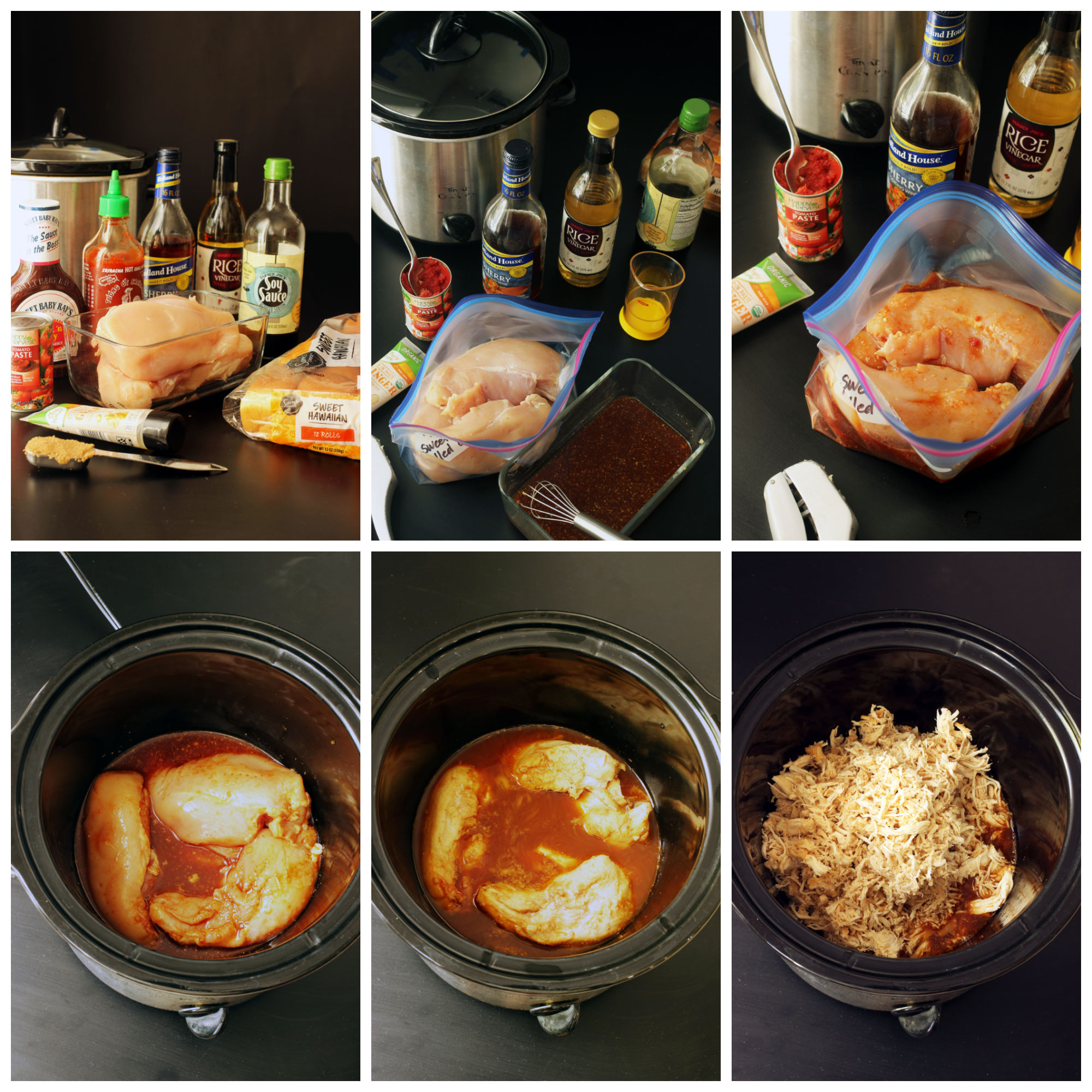 step by step photos of making Sweet and Sour Pulled Chicken