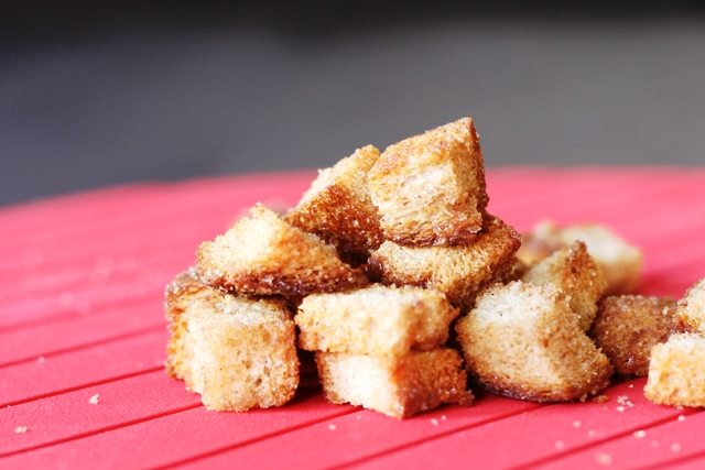a pile of Cinnamon Toast Croutons
