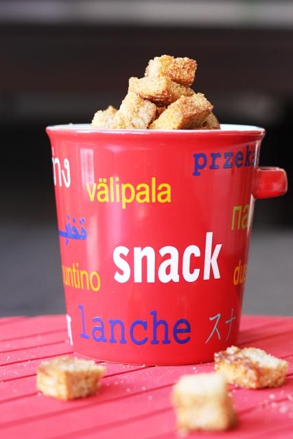 Cinnamon Toast Croutons in a snack mug