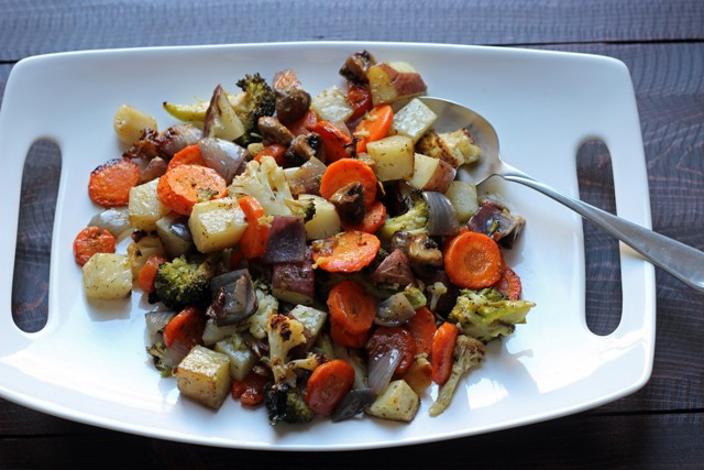 A plate of roasted vegetables