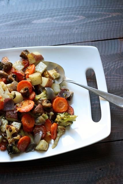 A plate of roast vegetables