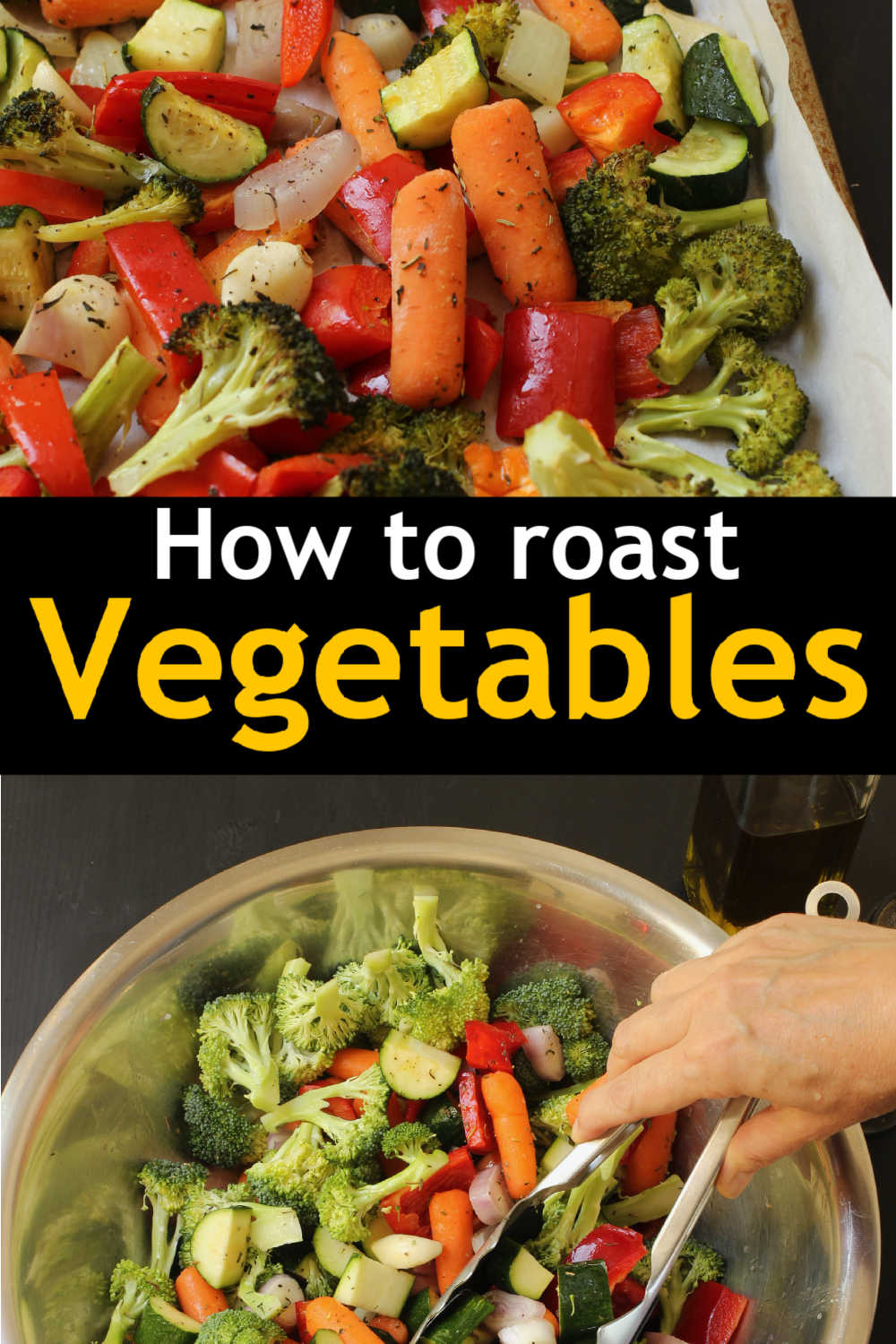A bowl of vegetables to roast next to pan of roasted veg