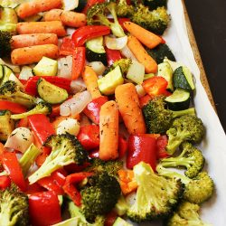 baking sheet of roasted vegetables