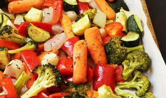 baking sheet of roasted vegetables