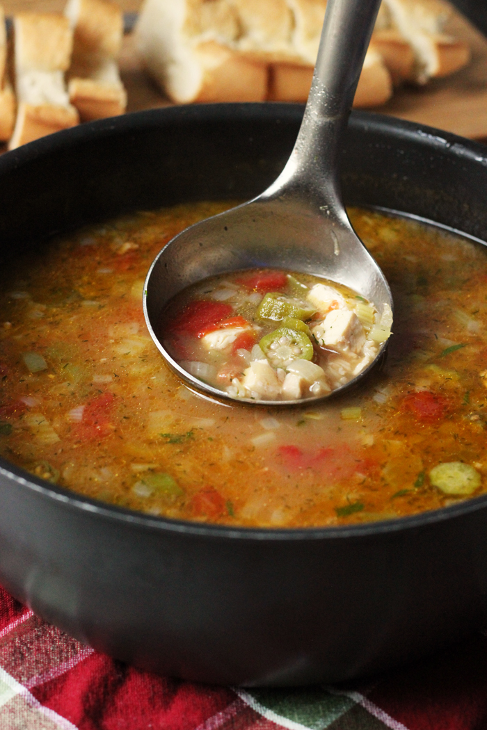Chicken Gumbo Soup in pot with ladle