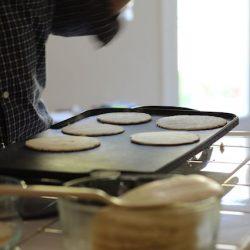 Griddle full of tortillas