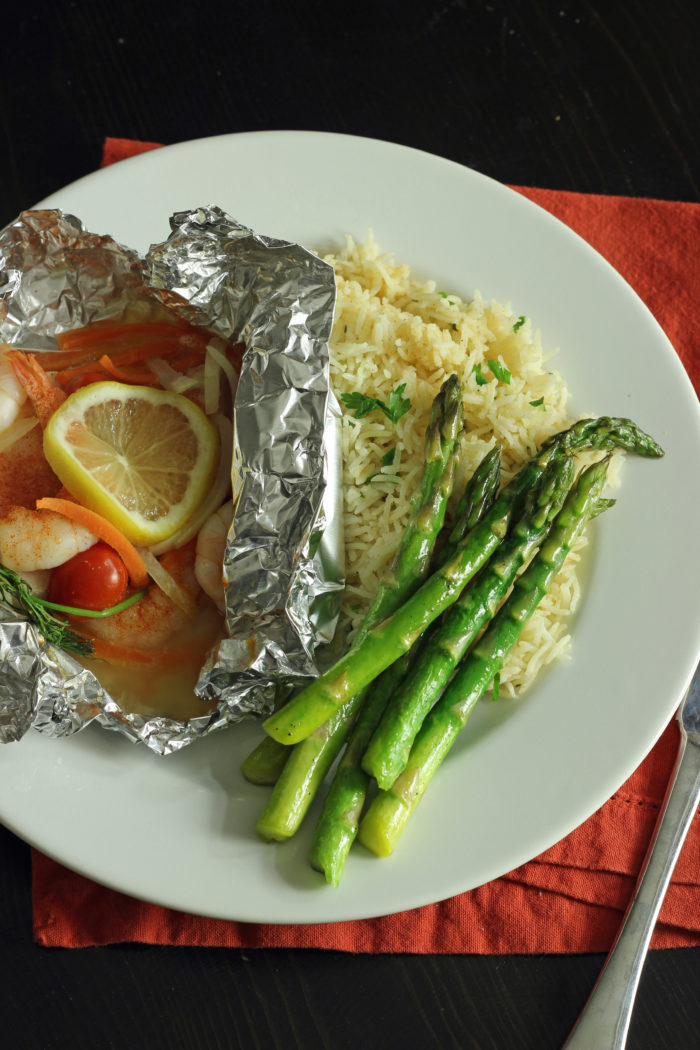 shrimp foil packet with asparagus with rice