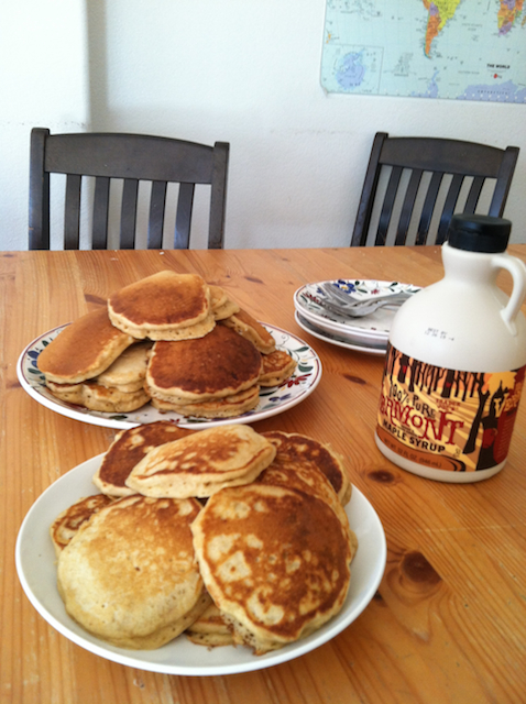 plates of pancakes on table
