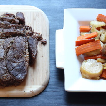 A pot roast on a cutting board