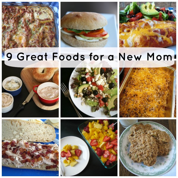 collage of different meals to take to a new mom