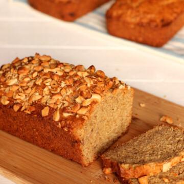 Coconut Cashew Bread on a cutting board
