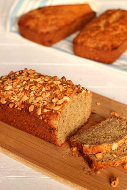 Coconut Cashew Banana Bread - Whole wheat flour, coconut milk, coconut oil, bananas, and cashews bake up into this delicious, lightly-sweetened bread that is great for breakfast or for snacking.