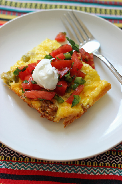 egg bake with bruschetta on a plate