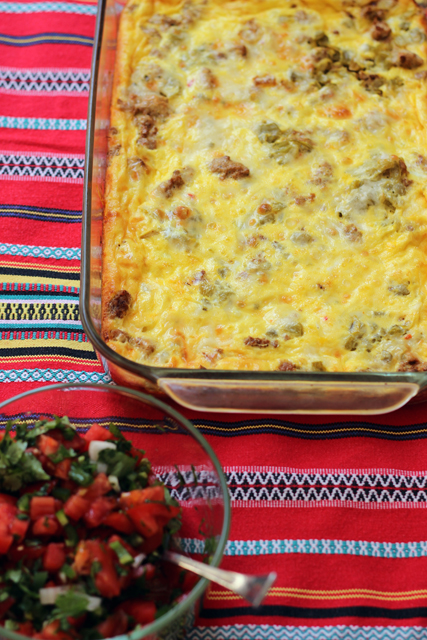 Spicy Turkey Egg Bake - Turkey spiced with spices and chiles is enrobed in a creamy egg mixture. This egg bake is perfect for holiday brunches.