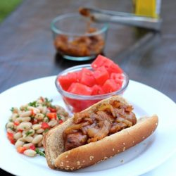 hot dog with onions on a plate with sides
