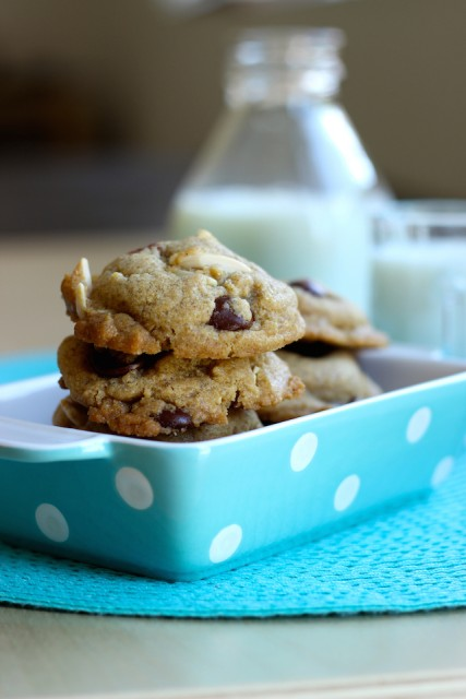 Chocolate chip cookies stacked in a dish