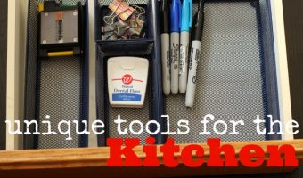 office tools in a kitchen drawer