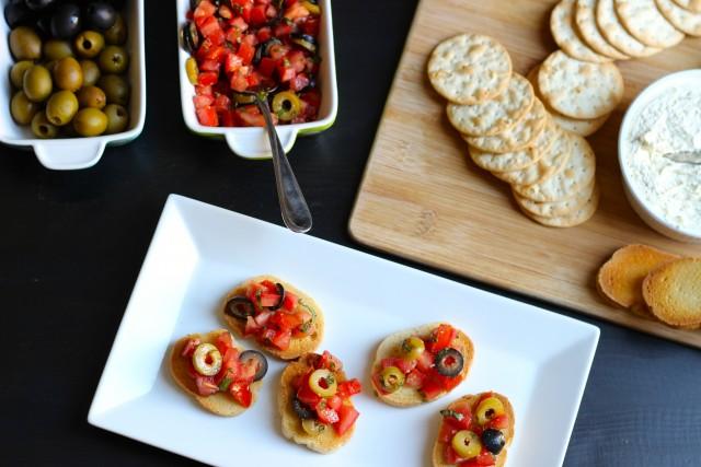 Olive Bruschetta and Elegant Afternoon Snacks