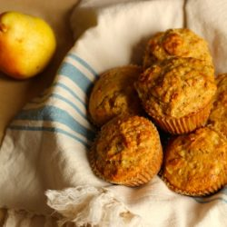 A close up of Pear Muffins in basket