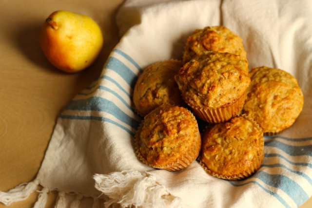 Vanilla Pear Brown Sugar Muffins : Bake up delicious pear muffins with little work, thanks to a homemade baking mix.