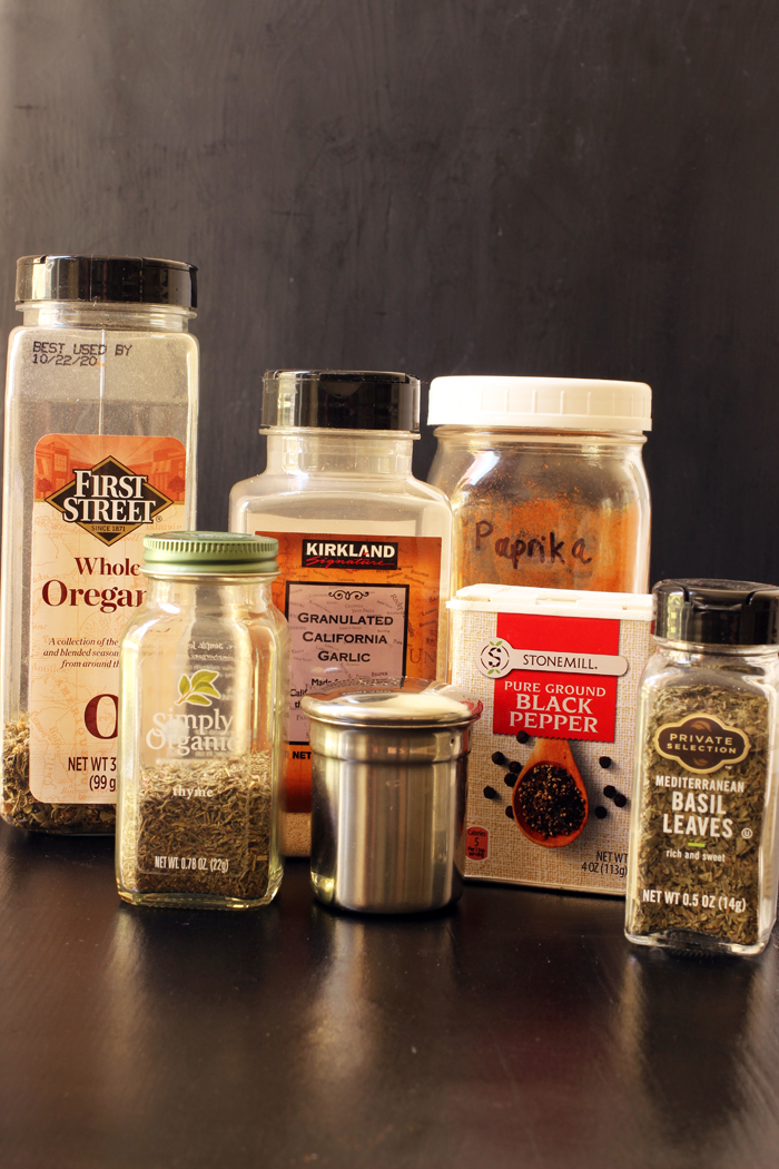 spice containers from the pantry
