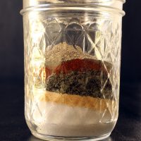 spices layered in jar for seasoned salt