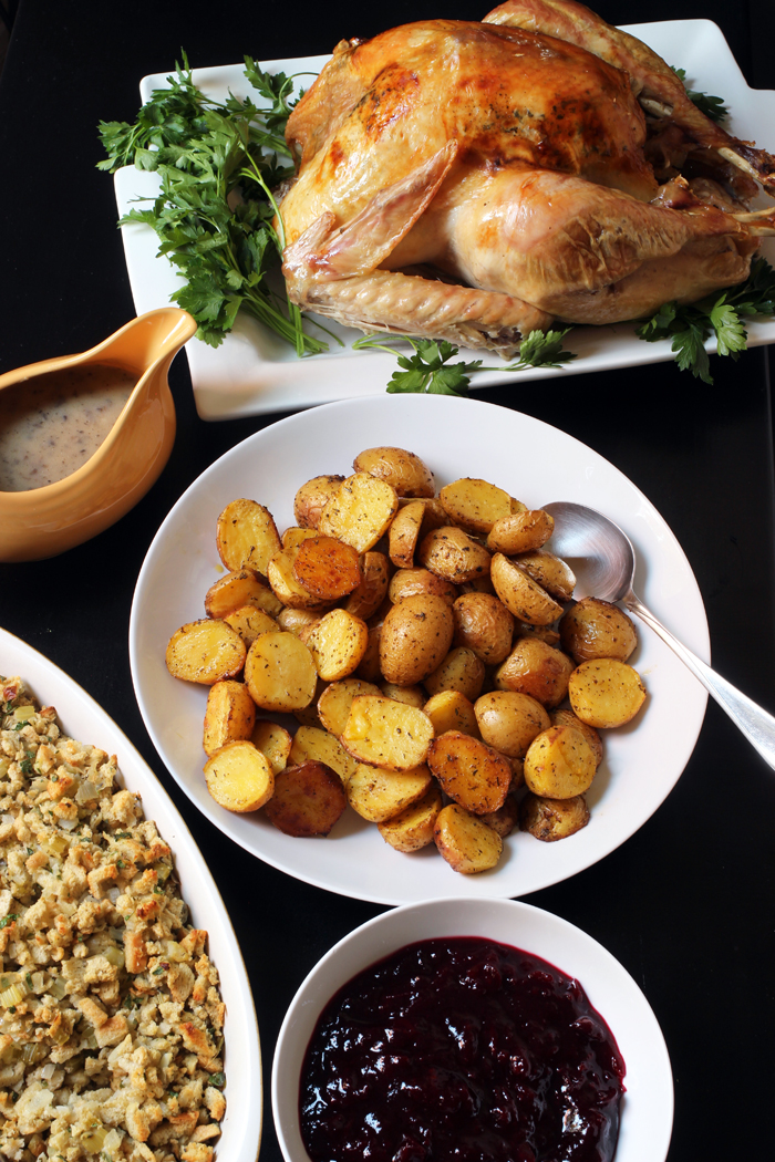 turkey dinner with roast potatoes