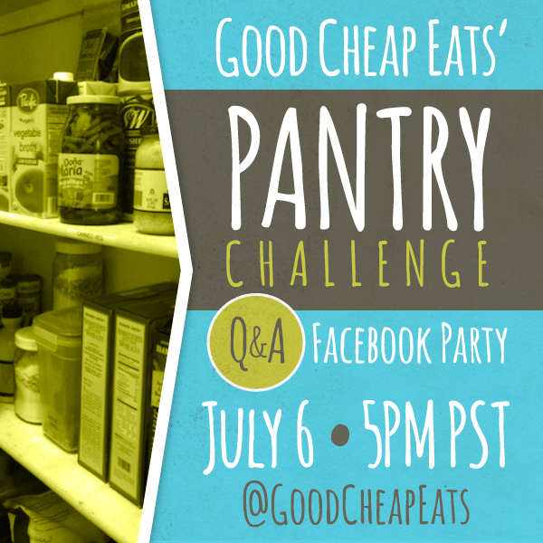 Join the Pantry Challenge - I'm hosting a Pantry Challenge over on Good Cheap Eats starting next week. For two weeks, we'll make a concentrated effort to use up groceries we have on hand in order to save money, waste less, and learn from ill-gotten grocery purchases.