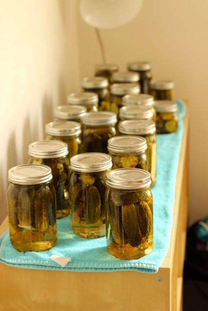 multiple mason jars of pickles