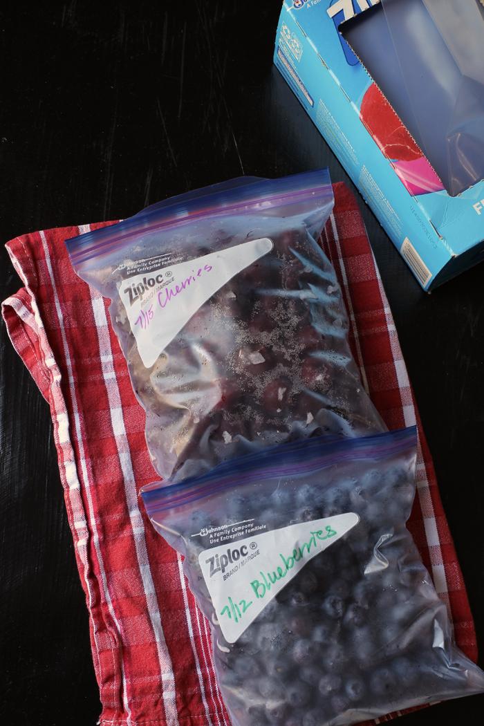 frozen cherries and berries in ziptop bags