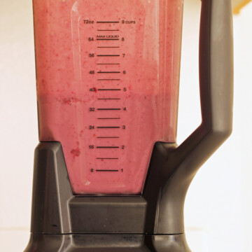blender full of pink smoothie
