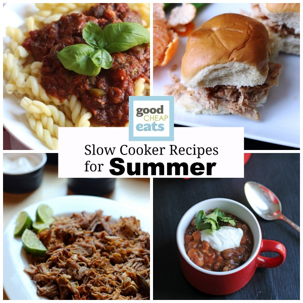 collage of summer slow cooker recipes