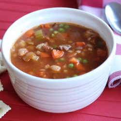 Vegetable Beef and Barley Soup - Prepare for fall and a busy school year by mixing up a pot of this delicious homemade soup, chocked full of vegetables, beef, and barley. It