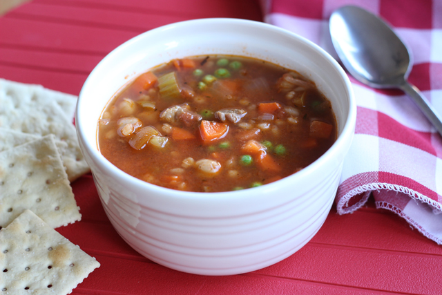 Vegetable Beef and Barley Soup - Prepare for fall and a busy school year by mixing up a pot of this delicious homemade soup, chocked full of vegetables, beef, and barley. It'll do your body good.