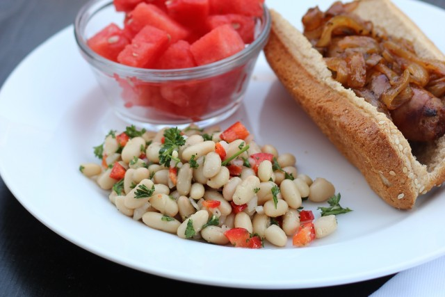 White Bean Salad - Enjoy this filling, yet easy and refreshing bean salad this summer.