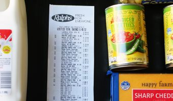 Ralphs receipt with groceries in a flatlay